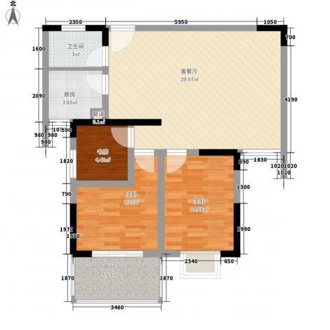 景泰东街小区3室1厅1卫1厨96.00㎡户型图