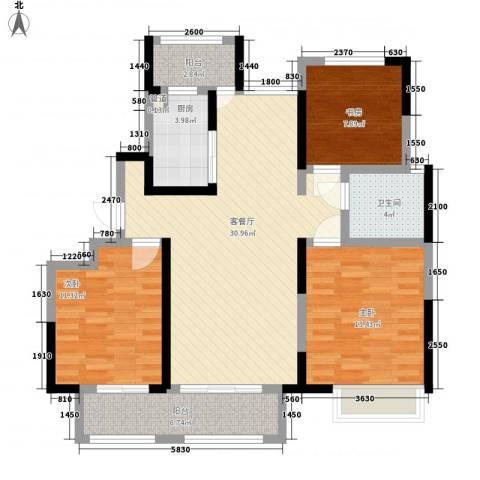 绿地中央广场3室1厅1卫1厨120.00㎡户型图