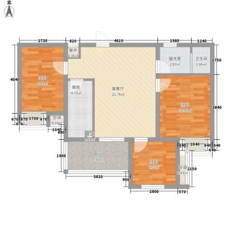翰林城3室1厅1卫1厨76.40㎡户型图