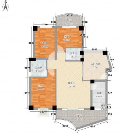 广场湖畔花园3室1厅2卫1厨126.00㎡户型图