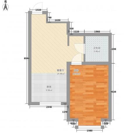 水景阁1室1厅1卫0厨50.00㎡户型图