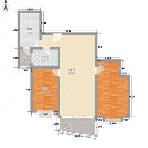 乾图中心广场2室1厅1卫1厨119.00㎡户型图