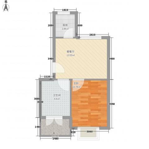 温泉国际1室1厅1卫1厨52.00㎡户型图