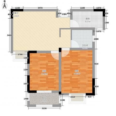 富贵园2室1厅1卫1厨87.00㎡户型图