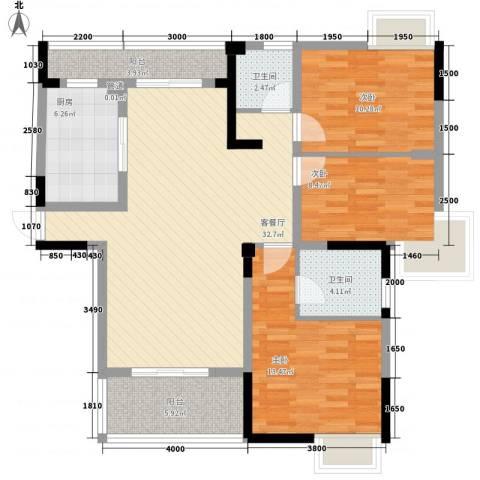 南艳瑞景3室1厅2卫1厨170.00㎡户型图