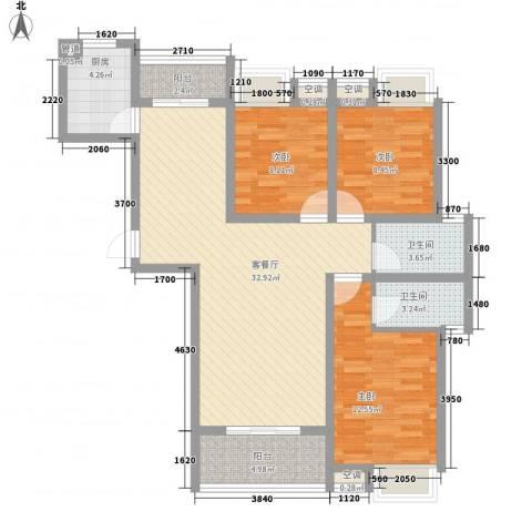 翰林城3室1厅2卫1厨96.00㎡户型图