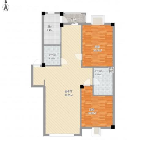 世纪花园2室1厅2卫1厨134.00㎡户型图