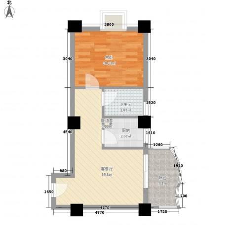 广场湖畔花园1室1厅1卫1厨52.00㎡户型图