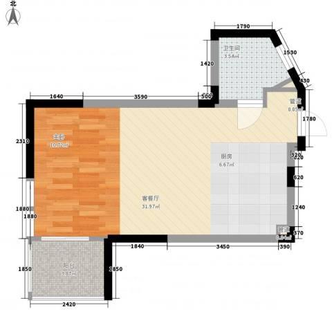 红�香水湾1厅1卫0厨53.00㎡户型图