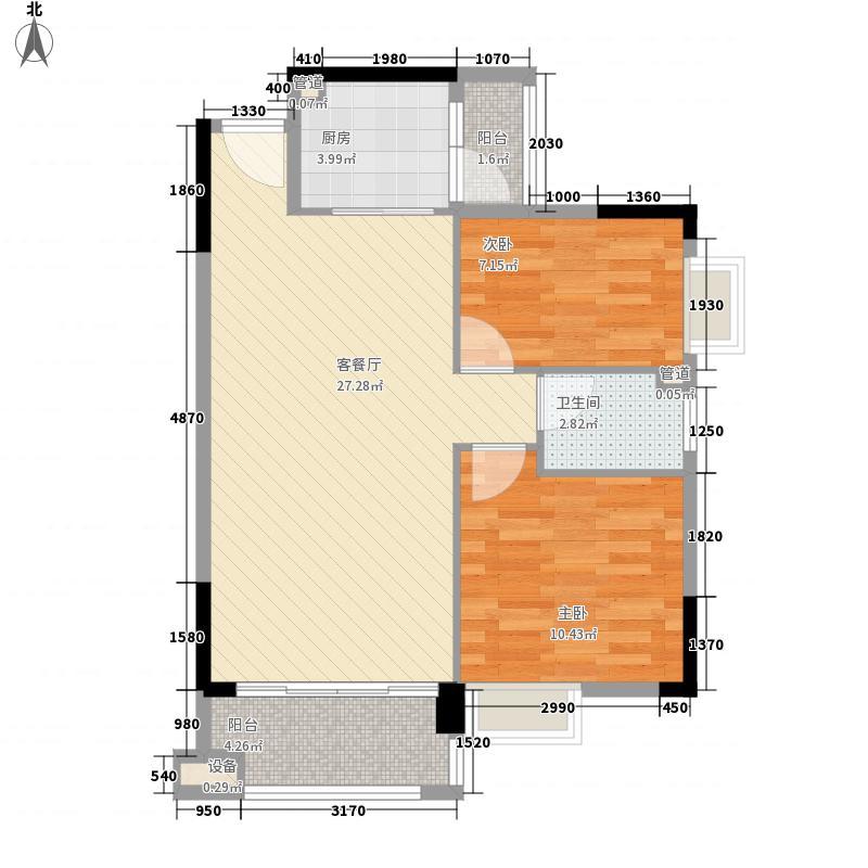 奥米茄花园81.00㎡香槟郡5栋2-14层03单元户型2室2厅1卫