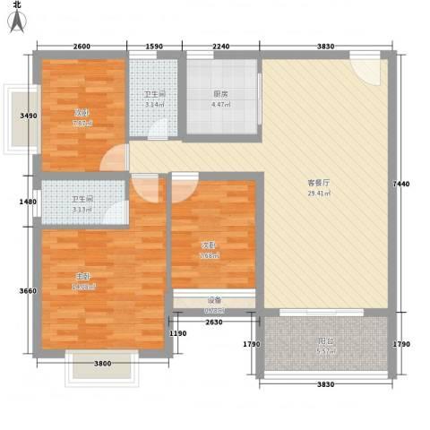 凯茵豪庭3室1厅2卫1厨110.00㎡户型图