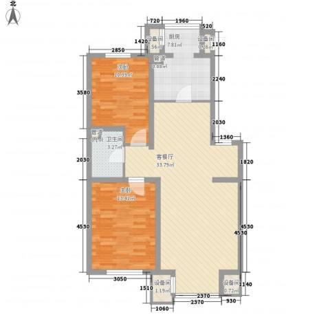 北美家园2室1厅1卫1厨89.00㎡户型图