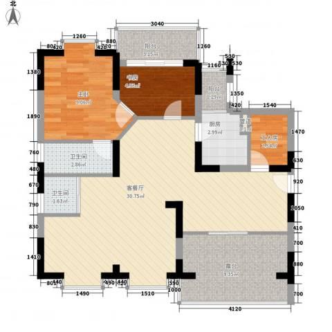 闽东国际城2室1厅2卫1厨97.00㎡户型图