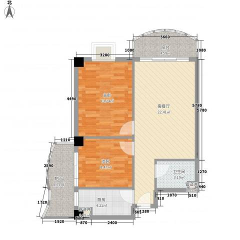 广场湖畔花园2室1厅1卫1厨88.00㎡户型图