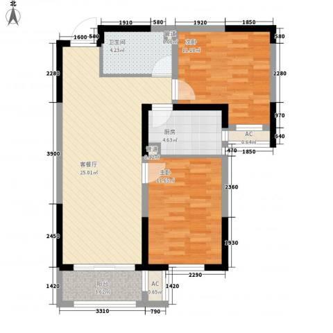 新湖印象江南二期2室1厅1卫1厨90.00㎡户型图