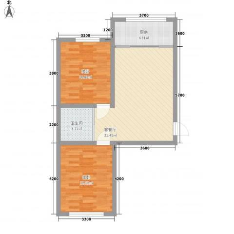 岭城一号2室1厅1卫1厨69.00㎡户型图