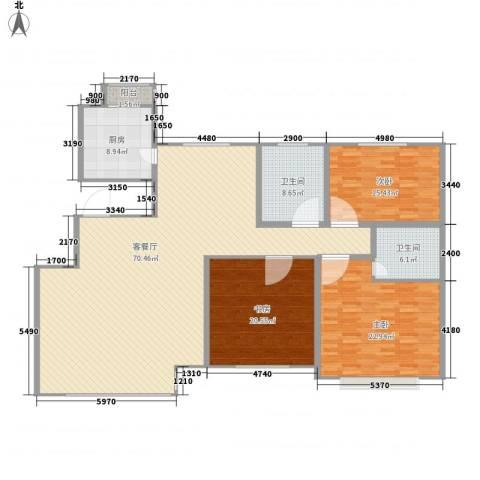 长影商务景都3室1厅2卫1厨210.00㎡户型图