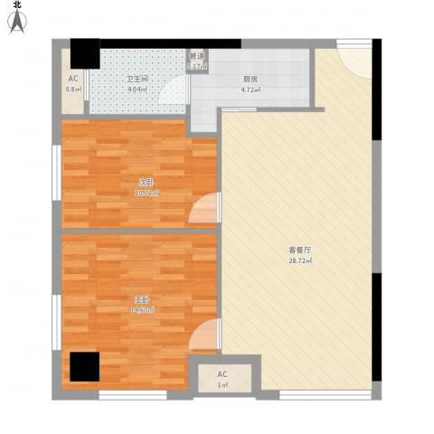 金地自在天地2室1厅1卫1厨92.00㎡户型图