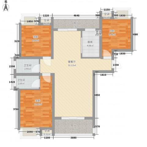翰林城3室1厅2卫1厨94.00㎡户型图