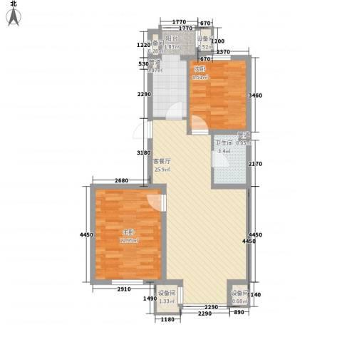 北美家园2室1厅1卫1厨78.00㎡户型图