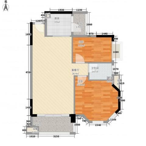 奥米茄花园2室1厅1卫1厨84.00㎡户型图