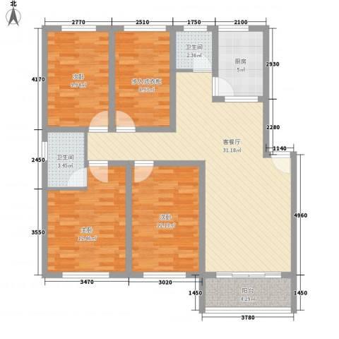 颐家春天3室1厅2卫1厨130.00㎡户型图
