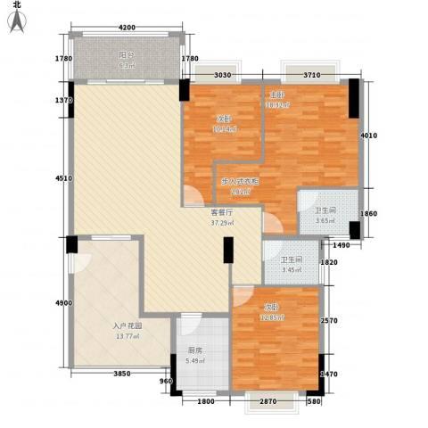 奥米茄花园3室1厅2卫1厨147.00㎡户型图