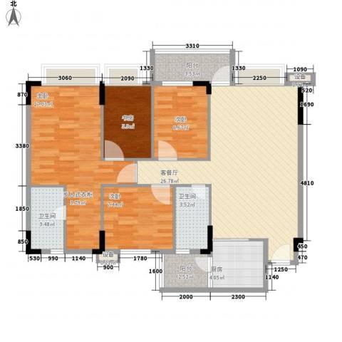 蓝色海岸4室1厅2卫1厨114.00㎡户型图