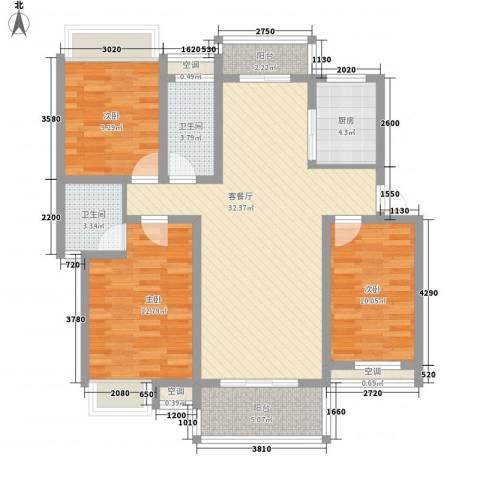 翰林城3室1厅2卫1厨100.00㎡户型图
