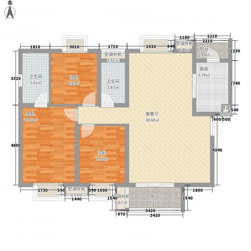 恒基雍景新城129.00㎡恒基雍景新城户型图F13室2厅2卫1厨户型3室2厅2卫1厨