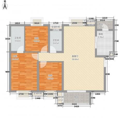 恒基雍景新城3室1厅2卫1厨129.00㎡户型图