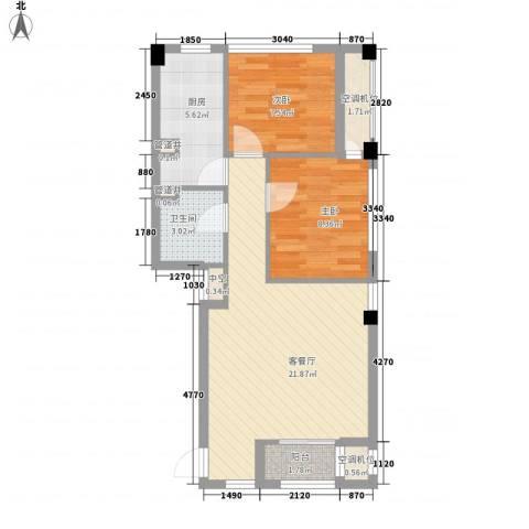 迪赛明天广场2室1厅1卫1厨74.00㎡户型图