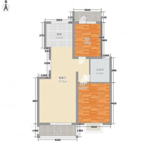 亿锋现代城2室1厅1卫0厨101.00㎡户型图