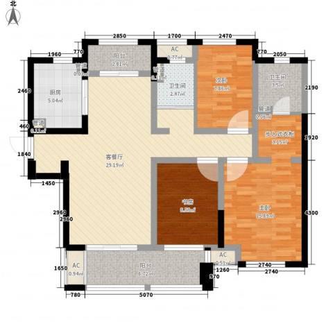 新城玉龙湾3室1厅2卫1厨126.00㎡户型图