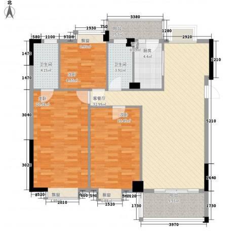 西堤国际花园3室1厅2卫1厨119.00㎡户型图