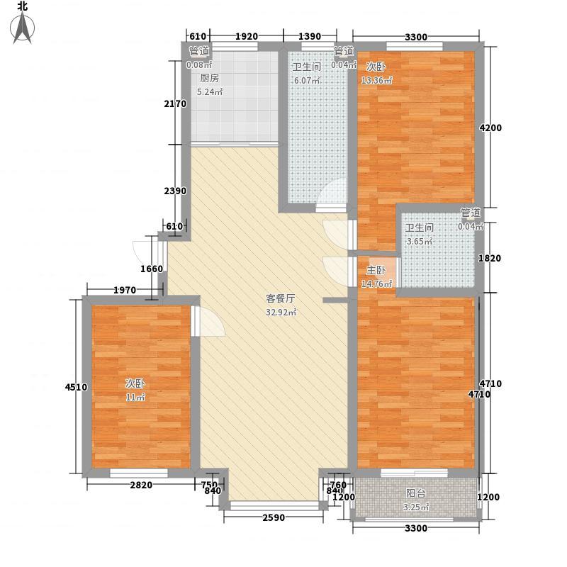 丽景盛园122.00㎡二期4-9栋楼标准层B2户型3室2厅2卫1厨