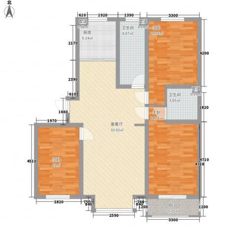 丽景盛园3室1厅2卫1厨122.00㎡户型图