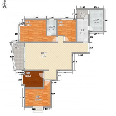 乾图中心广场4室1厅2卫1厨171.00㎡户型图