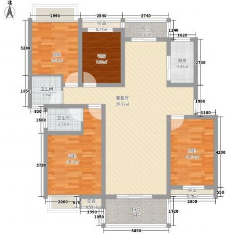 翰林城4室1厅2卫1厨110.40㎡户型图