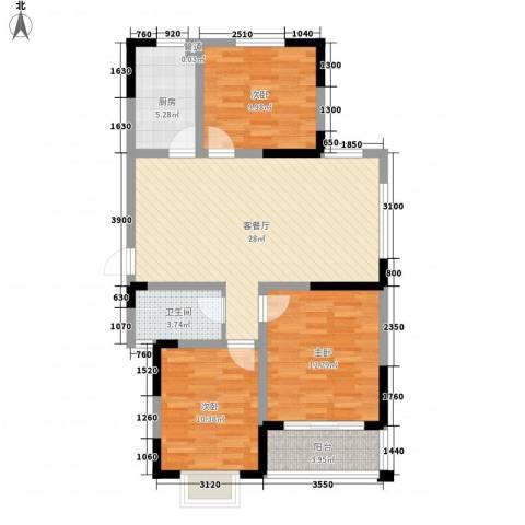 新城玉龙湾3室1厅1卫1厨110.00㎡户型图