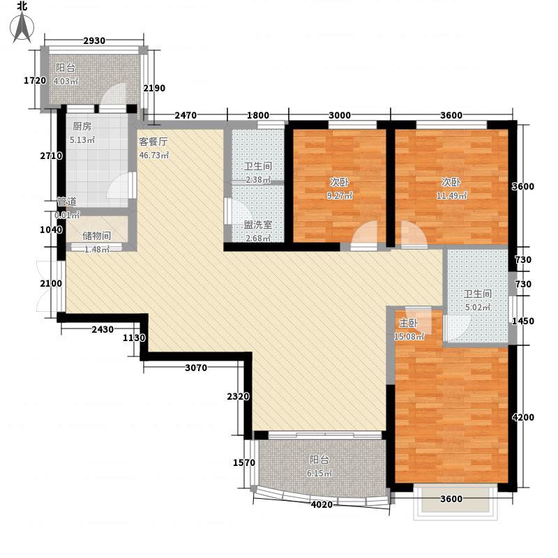 鸿运润园146.98㎡C区运安苑A—3户型3室2厅2卫1厨