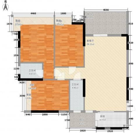 恒福新城3室1厅2卫1厨126.00㎡户型图