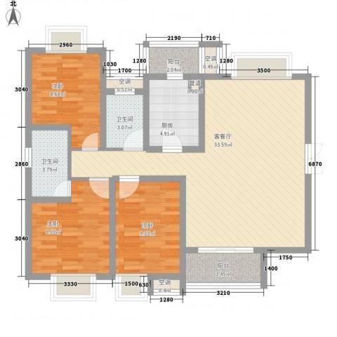 恒基雍景新城3室1厅2卫1厨118.00㎡户型图