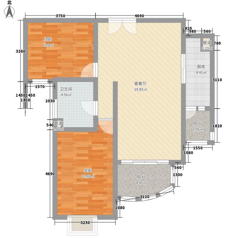 鸿运润园101.33㎡B1-2户型2室2厅1卫1厨