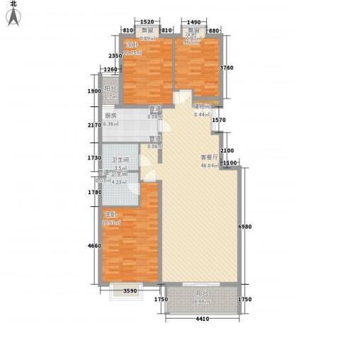 银谷美泉家园3室1厅2卫1厨152.00㎡户型图