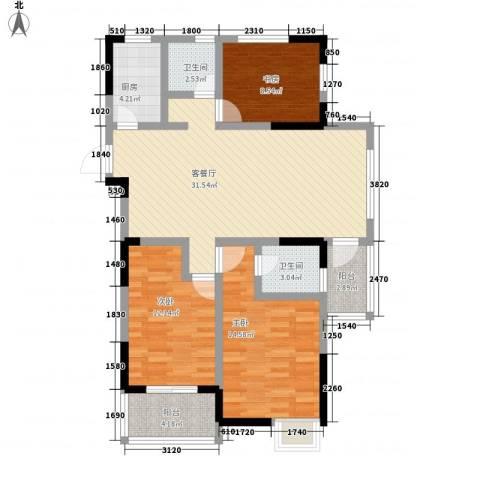 苹果园・幸福城3室1厅2卫1厨122.00㎡户型图