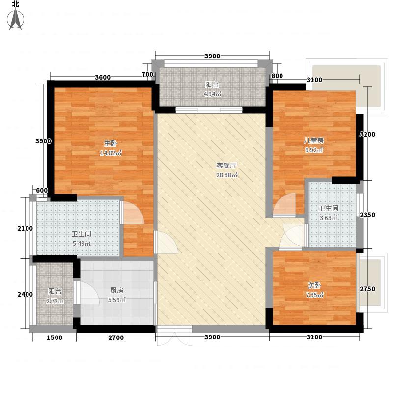 中惠�庭户型图14栋01/02单元标准层现代欧式户型 3室2厅2卫1厨