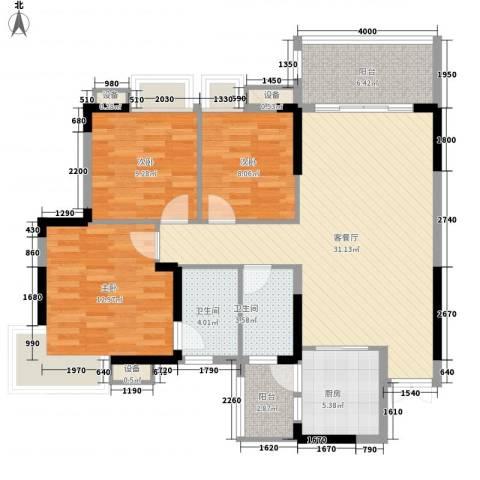 康怡丽苑3室1厅2卫1厨108.00㎡户型图