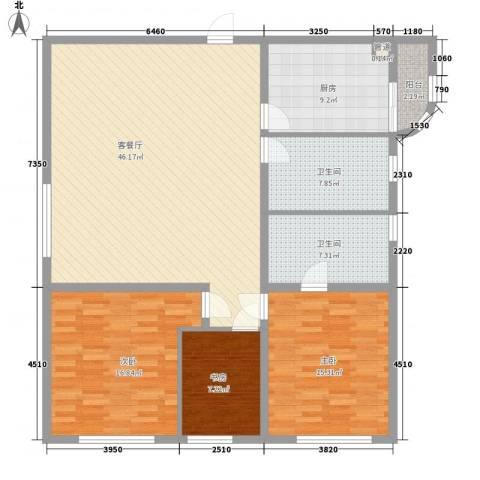 静安国际广场公寓3室1厅2卫1厨156.00㎡户型图