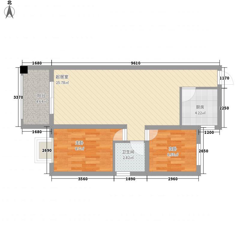 龙光翠竹苑87.60㎡3单元02号房3-10层户型2室2厅1卫1厨